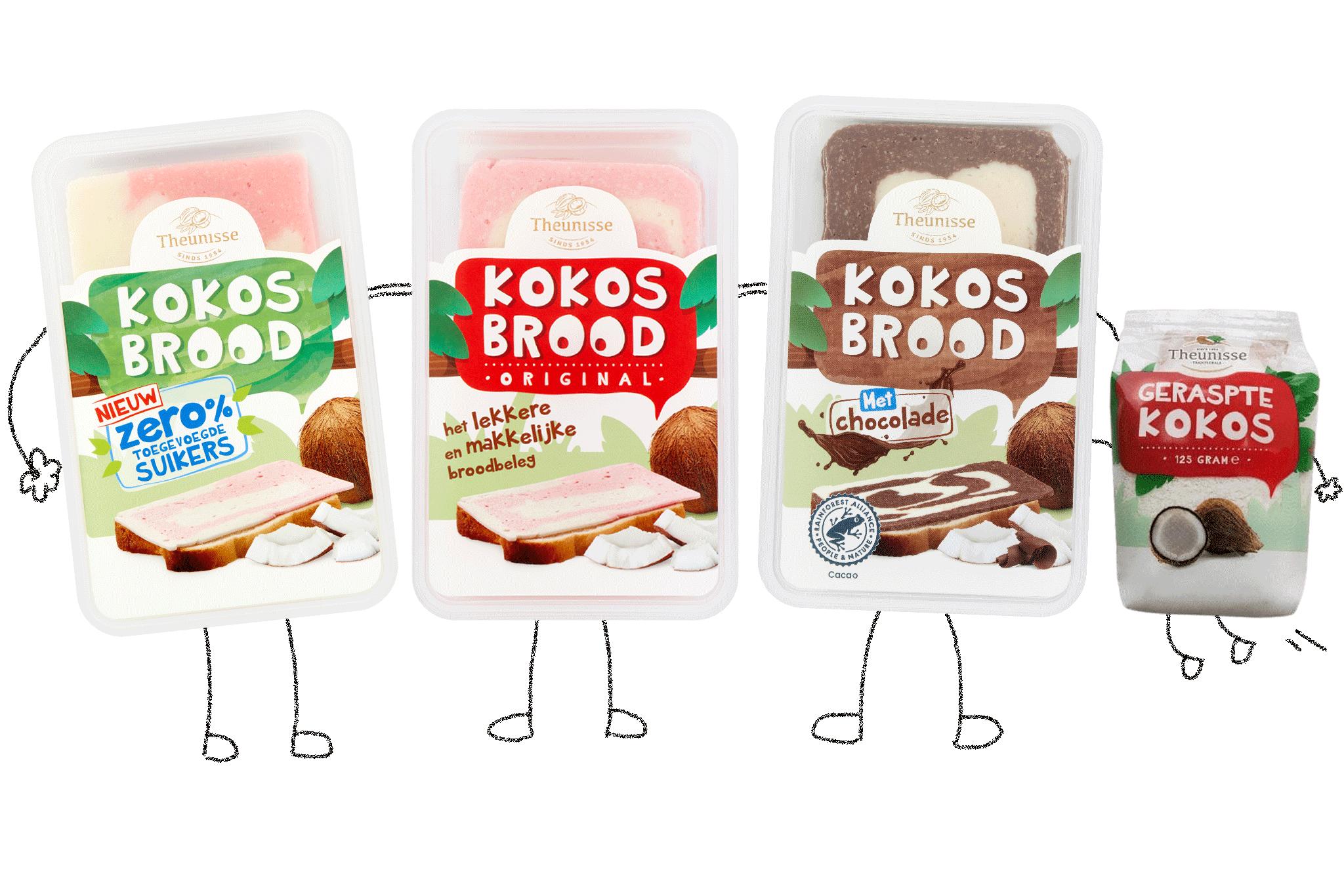 Verschillende varianten kokosbrood
